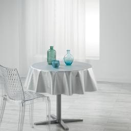 Nappe ronde (0) 160 cm pvc imprime metallise wavy Blanc