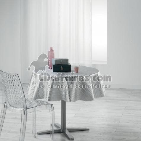 Nappe ronde (0) 160 cm pvc imprime metallise wavy Gris