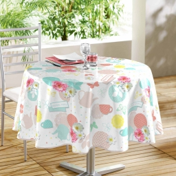 nappe ronde (0) 160 cm pvc imprime tea party