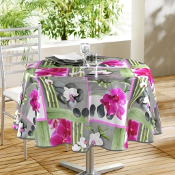 nappe ronde (0) 160 cm pvc photoprint orchidee