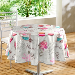 nappe ronde (0) 160 cm pvc photoprint sweet paris