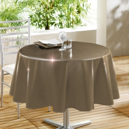 Nappe ronde (0) 160 cm pvc uni laque glossy Taupe