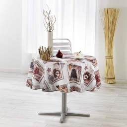 nappe ronde (0) 180 cm fils coupes imprime wood love
