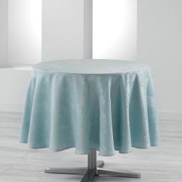 Nappe ronde (0) 180 cm jacquard damasse calice Bleu