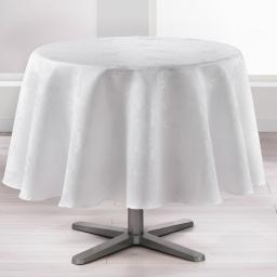 Nappe ronde (0) 180 cm jacquard damasse floralie Blanc
