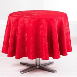 Nappe ronde (0) 180 cm jacquard damasse floralie Rouge