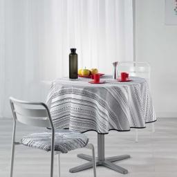 Nappe ronde (0) 180 cm polyester imprime analea Noir/Blanc