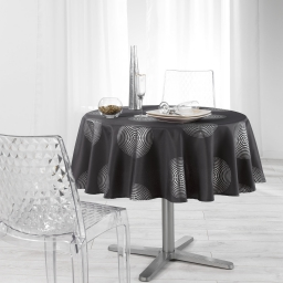 Nappe ronde (0) 180 cm polyester imprime argent atome Anthracite