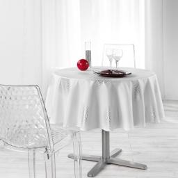 Nappe ronde (0) 180 cm polyester imprime argent atome Blanc
