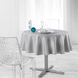 Nappe ronde (0) 180 cm polyester imprime argent atome Gris