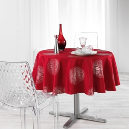 Nappe ronde (0) 180 cm polyester imprime argent atome Rouge