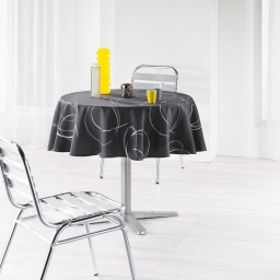Nappe ronde (0) 180 cm polyester imprime argent bully Anthracite