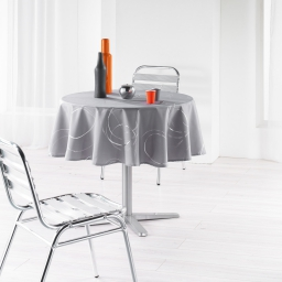 Nappe ronde (0) 180 cm polyester imprime argent bully Perle