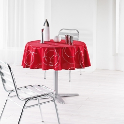 Nappe ronde (0) 180 cm polyester imprime argent bully Rouge