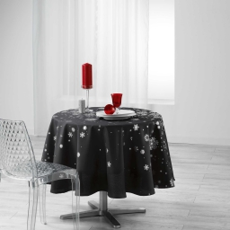 Nappe ronde (0) 180 cm polyester imprime argent constellation Anthracite