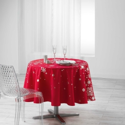 Nappe ronde (0) 180 cm polyester imprime argent constellation Rouge