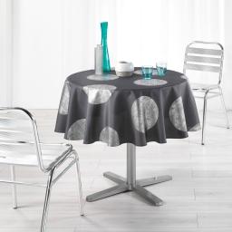 Nappe ronde (0) 180 cm polyester imprime argent platine Anthracite