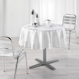 Nappe ronde (0) 180 cm polyester imprime argent platine Blanc