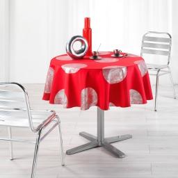 Nappe ronde (0) 180 cm polyester imprime argent platine Rouge