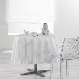Nappe ronde (0) 180 cm polyester imprime argent plumia Blanc