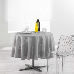Nappe ronde (0) 180 cm polyester imprime argent plumia Gris