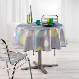 Nappe ronde (0) 180 cm polyester imprime atolls Anis