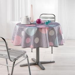Nappe ronde (0) 180 cm polyester imprime atolls Rose