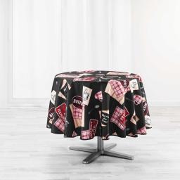 nappe ronde (0) 180 cm polyester imprime au bistrot