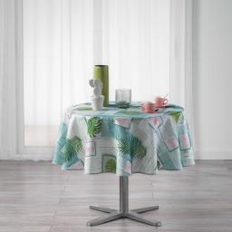 Nappe ronde (0) 180 cm polyester imprime bahia Blanc
