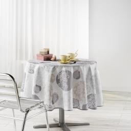 Nappe ronde (0) 180 cm polyester imprime barbara Naturel