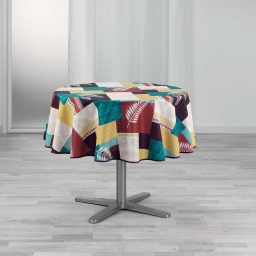 Nappe ronde (0) 180 cm polyester imprime caloum Jaune