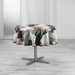 Nappe ronde (0) 180 cm polyester imprime caloum Noir