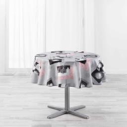 Nappe ronde (0) 180 cm polyester imprime cotina Gris