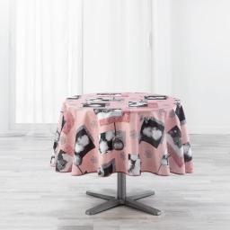 Nappe ronde (0) 180 cm polyester imprime cotina Rose