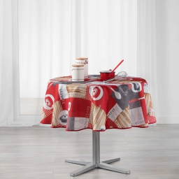 nappe ronde (0) 180 cm polyester imprime cuisine gourmande