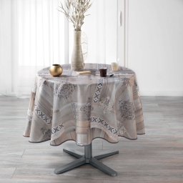 nappe ronde (0) 180 cm polyester imprime ethnic wood