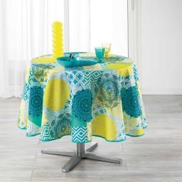 Nappe ronde (0) 180 cm polyester imprime flamenco Bleu