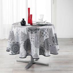 Nappe ronde (0) 180 cm polyester imprime flamenco Gris