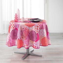 Nappe ronde (0) 180 cm polyester imprime flamenco Rose