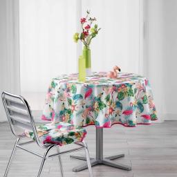 Nappe ronde (0) 180 cm polyester imprime flamingo beach Blanc