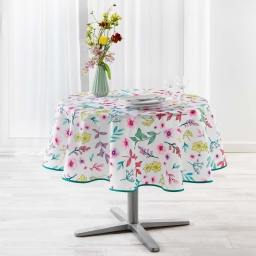 Nappe ronde (0) 180 cm polyester imprime freshy Blanc