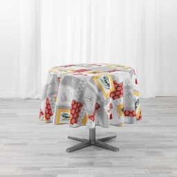 Nappe ronde (0) 180 cm polyester imprime Graziella Jaune/brique