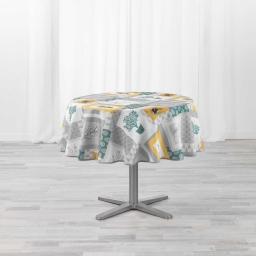 Nappe ronde (0) 180 cm polyester imprime Graziella Jaune/vert
