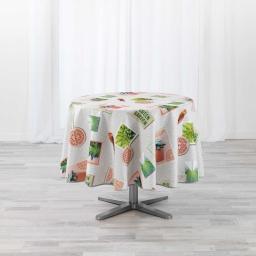 Nappe ronde (0) 180 cm polyester imprimé Green garden