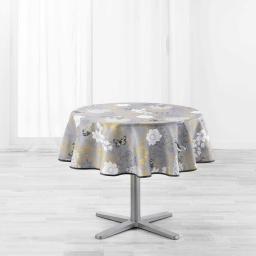 Nappe ronde (0) 180 cm polyester imprime joline Jaune