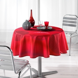 Nappe ronde (0) 180 cm polyester imprime kosmo Rouge