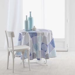 Nappe ronde (0) 180 cm polyester imprime mantra Bleu