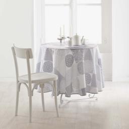 Nappe ronde (0) 180 cm polyester imprime mantra Naturel