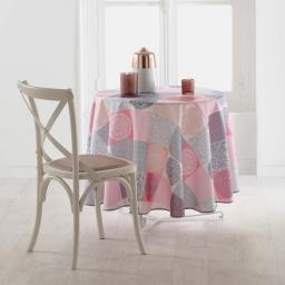 Nappe ronde (0) 180 cm polyester imprime mantra Rose