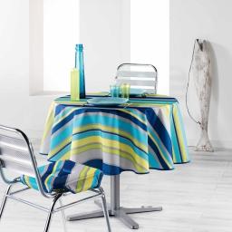 Nappe ronde (0) 180 cm polyester imprime marina Bleu